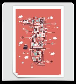 Affiche La Presqu'île de Lyon corail