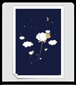 Affiche Moutons bleu foncé