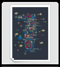 Affiche La Presqu'île de Lyon bleu foncé
