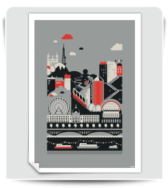 Affiche Lyon gris