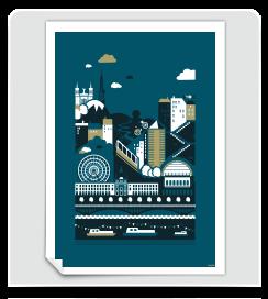 Affiche Lyon bleu prusse