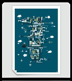 Affiche La Presqu'ile de Lyon bleu de prusse