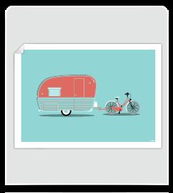 Affiche Caravane Bleu pastel