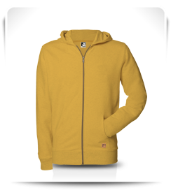 Veste capuche zip jaune mimosa