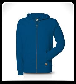 Veste capuche zip bleu électrique